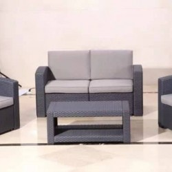 2 + 1 + 1 Plastic Rattan Seating Set With Table